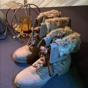 Just Fab Adjustable Faux Fur Trimmed Boots